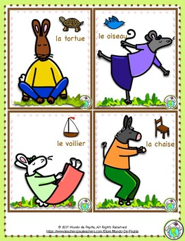 Yoga Poses Cards in FRENCH 18 Cards