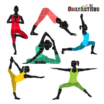 Yoga Poses Collage Clip Art - Great for Art Class Projects!