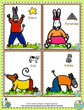 Yoga Poses GERMAN Printable Cards Set of 12