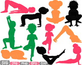 Yoga Poses clip art Monogram Fitness and Health SVG Exercise gym School -310s