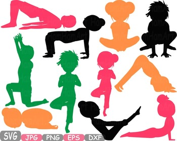 Yoga Poses clip art Monogram Fitness and Health SVG Exerci
