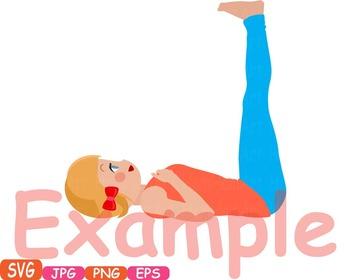 Yoga Poses clip art Monogram Fitness sport Health SVG Exercise gym School -322s