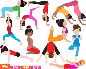 Yoga Poses clip art Silhouettes Fitness sport Health SVG Exercise School -309s