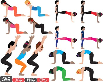 Yoga Poses clip art Silhouettes Fitness and Health SVG Exercise gym School -397s