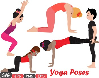 Yoga Poses clip art Silhouettes Fitness and Health SVG Exe