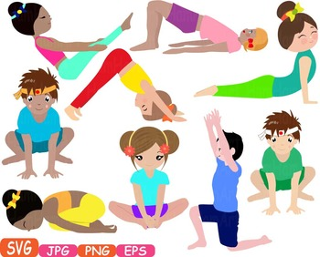 Yoga Poses Clip Art Silhouettes Fitness Sport Health SVG Exercise School 307s