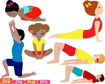 Yoga Poses clip art Silhouettes Fitness sport Health SVG Exercise School -307s