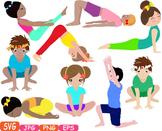 Yoga Poses clip art Silhouettes Fitness sport Health SVG E