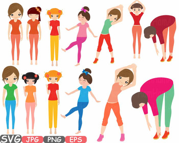 Yoga Poses clip art Silhouettes Fitness sport Health SVG Exercise School -541s