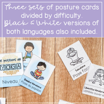 yoga posture cards in french and english // create calm in