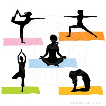 Yoga Silhouettes Cute Digital Clipart, Fitness Graphics