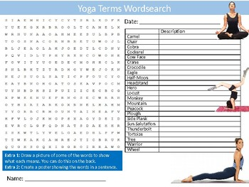 Yoga Terms Wordsearch Puzzle Sheet Keywords Activity Health Wellbeing