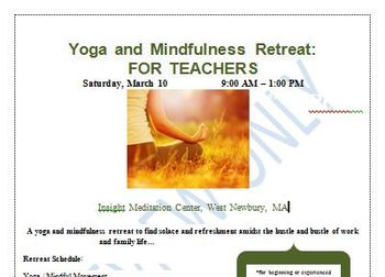 Yoga and Mindfulness Retreat (for Teachers and Administrators) Flyer