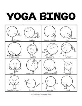 yoga for kids bingoonestop counseling shop  tpt