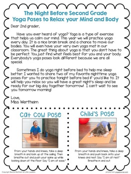 Yoga for Kids: Editable student/parent info sheet to teach simple yoga poses