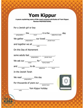Yom Kippur Mad Lib (interactive pdf and Google Slide)