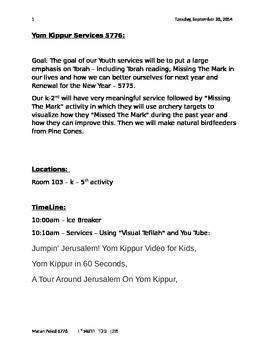 Yom Kippur full youth service