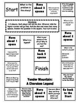 """Yonder Mountain"" Comprehension Game Board- Journeys 3rd grade"