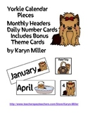 Yorkie Calendar Pieces - Monthly Headers, Date Cards & Special Days