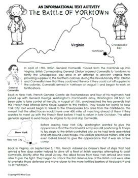 Battle of Yorktown Informational Text Activity