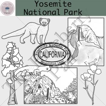 Yosemite National Park Clip Art Set