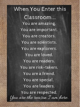 You Are... Burlap and Chalkboard Poster