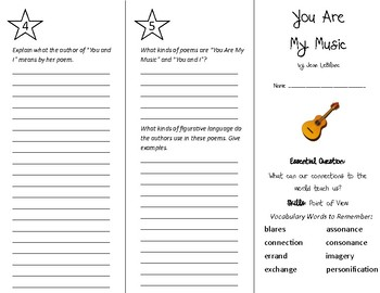 You Are My Music Trifold - Wonders 5th Grade Unit 6 Week 5