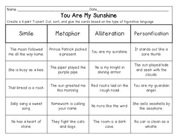 You Are My Sunshine - Figurative Language