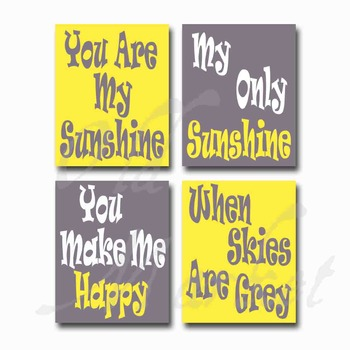 photo about You Are My Sunshine Printable known as Oneself Are My Sunlight - Printable Wall Artwork - Involves 4 Photographs