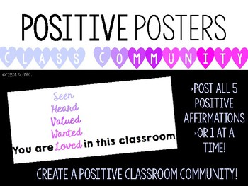 You Are... Positive Classroom Poster