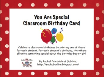 You Are Special Classroom Birthday Card
