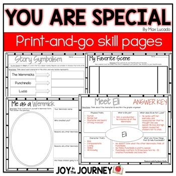 You Are Special by Max Lucado Book Activities