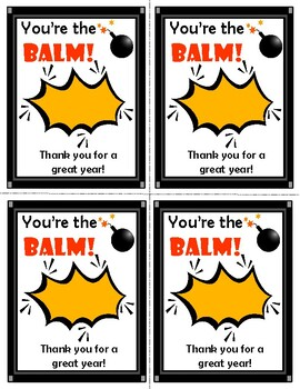 photograph relating to You're the Balm Teacher Free Printable known as Youre The Balm Worksheets Training Materials TpT