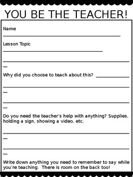 You Be The Teacher End of the Year Project Activity Editable