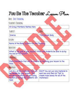 You Be The Teacher - Student Lesson Planning Google Template