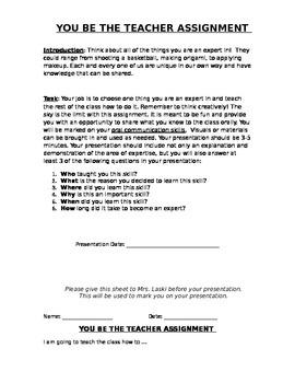 You Be The Teacher Task