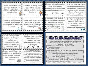 You Be the Test Maker Math Task Cards
