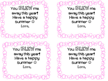 "Graduation Gift Tag Cards ""You Blew Me Away"""