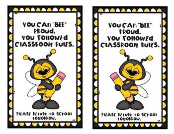 "You Can ""BEE"" Proud - You followed the Rules"" Take-home Card"