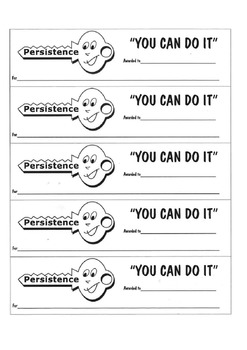 You Can Do It Awards- confidence, persistence, organisation, getting along +more