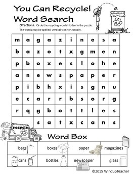 You Can Recycle Rebus Word Search * Reproducible for Earth Day
