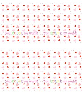 Valentine's Day 'You Color My World' Crayon Heart Topper