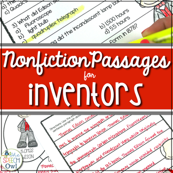 You Invented What? - Non-fiction for Language, Comprehension, and Vocabulary