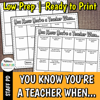 You Know You're a Teacher When... - Great Icebreaker for PD & Faculty Meetings