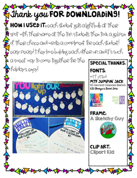You Light Up Our Classroom FREEBIE!