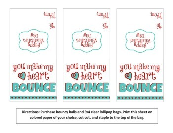 """You Make My Heart Bounce"" Valentine Printable"