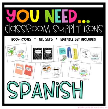 You Need Classroom Supply Icons SPANISH