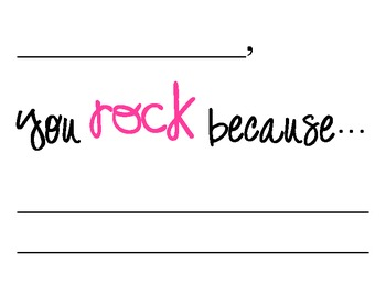 You Rock Because... Motivational Dry Erase Classroom Sign