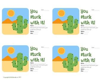 You Stuck With It! Cactus Brag Tag Printable Praise