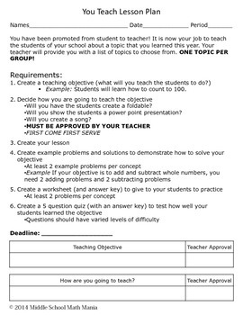 You Teach Lesson Plan (End of Year Activity)